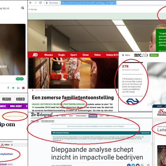 Labels nieuwsmedia native advertising