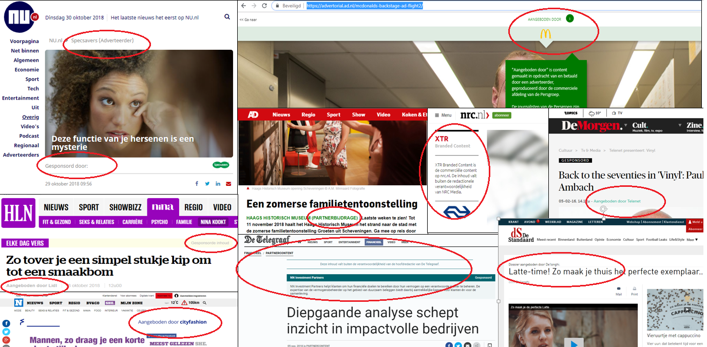 Labels nieuwsmedia native advertising